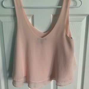 Pink double layer crop tank top